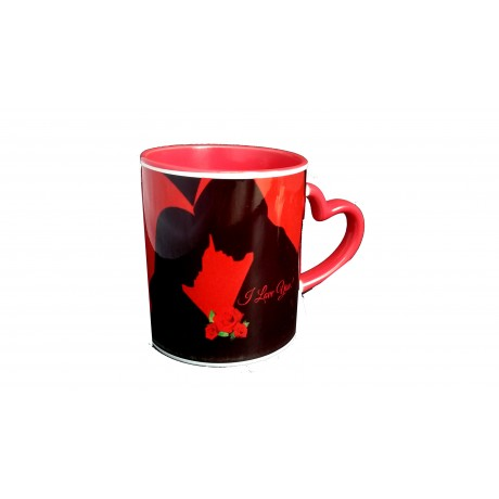TECHNOCHITRA Exclusive Valentine Gift combo with Special Love Designed Red Heart Handled Coffee Mug, Pack of Chocolates and One Free Small Cute Heart Shaped Hanging Cushion.
