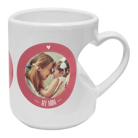 TECHNOCHITRA PERSONALISED HEART SHAPE HANDLE MUG 330 ML