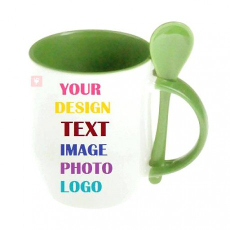 TECHNOCHITRA PERSONALIZED SINGLE PIECE MUG WITH INNER COLOR AND SPOON 300 ML