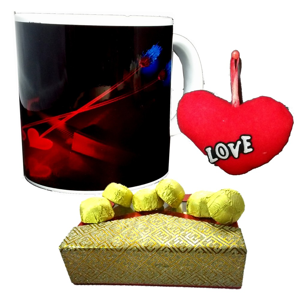 TECHNOCHITRA Exclusive Valentine Gift combo with Special Love Designed  Coffee Mug, Pack of Chocolates and One Free Small Cute Heart Shaped Hanging Cushion.