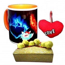 TECHNOCHITRA Exclusive Valentine Gift combo with Special Love Designed Inner Color Coffee Mug, Pack of Chocolates and One Free Small Cute Heart Shaped Hanging Cushion.