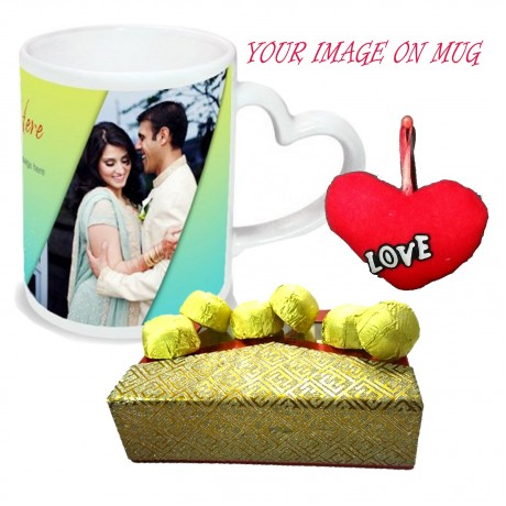 TECHNOCHITRA Exclusive Valentine Gift combo with Special Personalized Heart Handle Coffee Mug, Pack of Chocolates and One Free Small Cute Heart Shaped Hanging Cushion