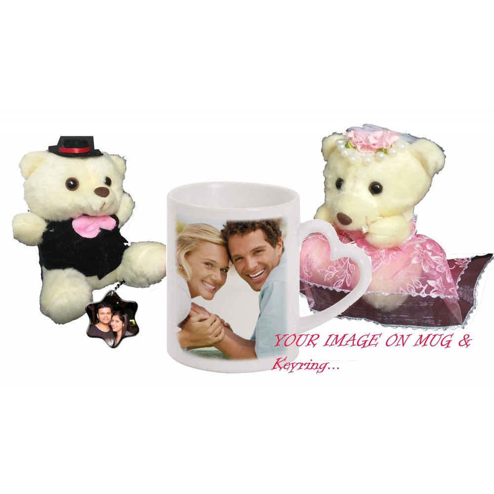 TECHNOCHITRA Exclusive Valentine Gift combo with Personalized Heart Handle Love Coffee Mug, Cute Couple Teddy and Personalized Key Ring.