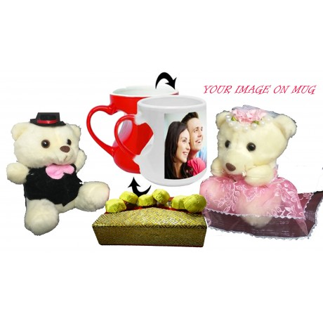 TECHNOCHITRA Exclusive Valentine Gift combo with Special  Personalized Red Magic Coffee Mug, Cute Couple Teddy and Pack of Soft Melting Chocolates. FREE PERSONALIZED MOUSE PAD