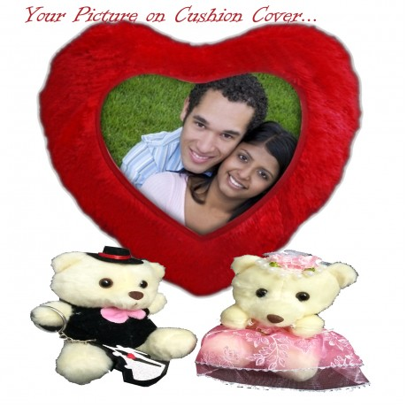 TECHNOCHITRA Exclusive Valentine Gift combo with Personalized Image Heart Shape Cushion & Cute Couple Teddies with free Pack of Soft Melting Chocolates