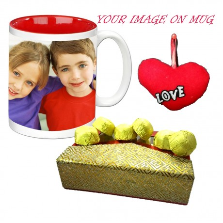 TECHNOCHITRA Exclusive Valentine Gift combo with Special Personalized Inner Color Coffee Mug, Pack of Chocolates and One Free Small Cute Heart Shaped Hanging Cushion