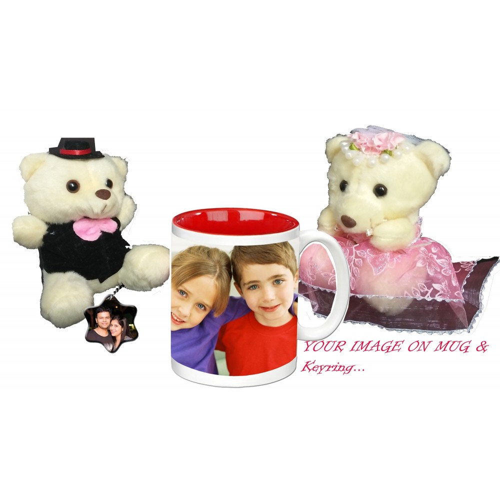 TECHNOCHITRA Exclusive Valentine Gift combo with Inner Color Love Coffee Mug, Cute Couple Teddy and Personalized Key Ring.