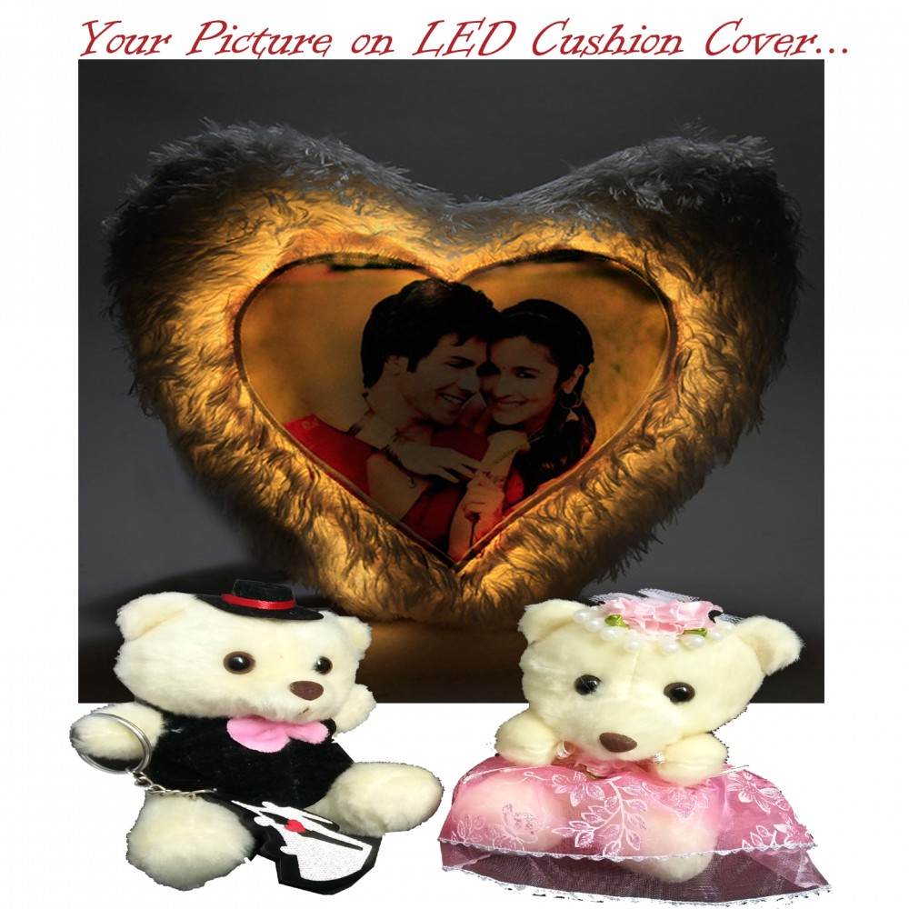TECHNOCHITRA Exclusive Valentine Gift combo with Personalized Image Heart Shape LED Cushion & Cute Couple Teddies with free Pack of Soft Melting Chocolates