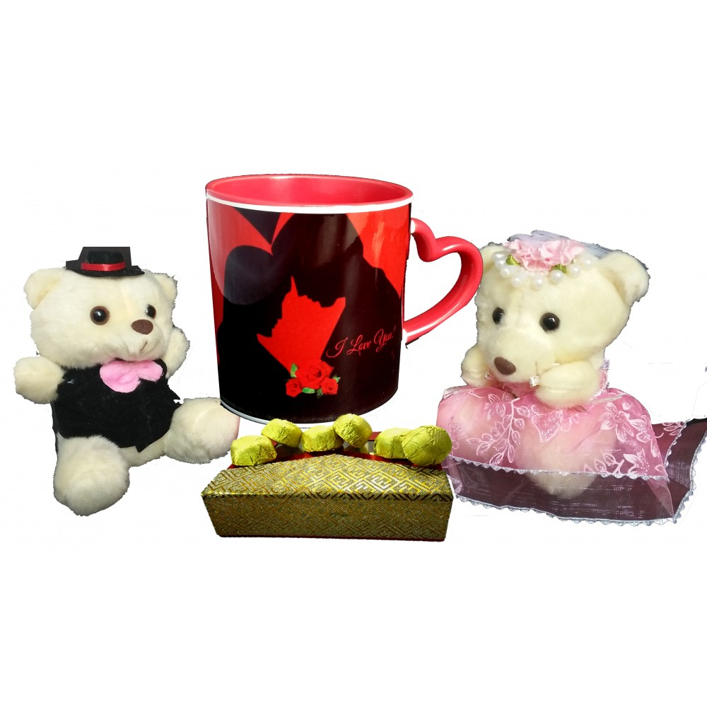 TECHNOCHITRA Exclusive Valentine Gift combo with Special Love Designed Red Heart Handle Coffee Mug, Cute Couple Teddy and Pack of Soft Melting Chocolates. FREE PERSONALIZED MOUSE PAD