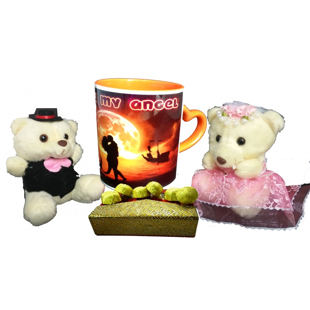 TECHNOCHITRA Exclusive Valentine Gift combo with Special Love Designed Saffron Heart Handle Coffee Mug, Cute Couple Teddy and Pack of Soft Melting Chocolates. FREE PERSONALIZED MOUSE PAD