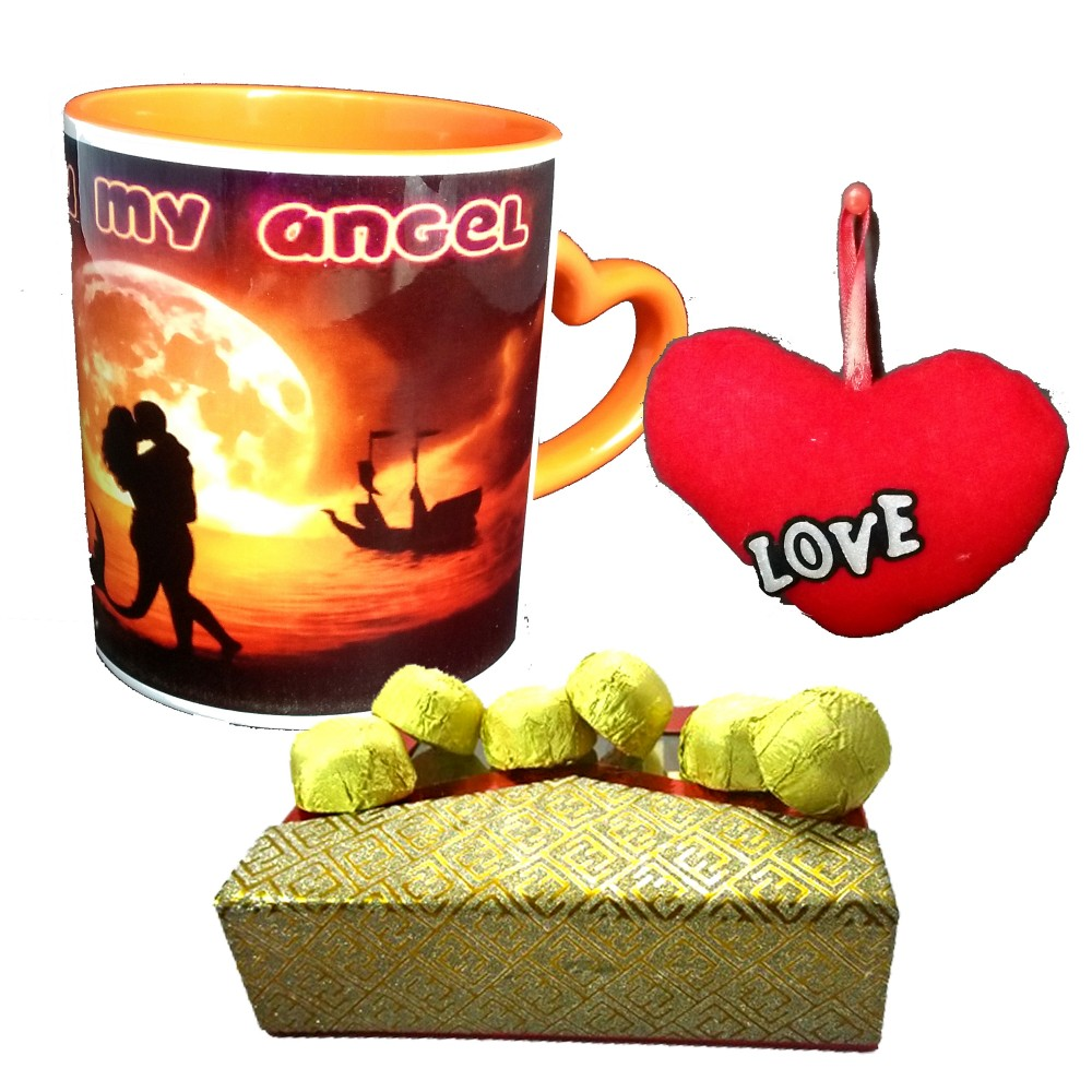 TECHNOCHITRA Exclusive Valentine Gift combo with Special Love Designed Saffron Heart Handled Love Coffee Mug, Pack of Chocolates and One Free Small Cute Heart Shaped Hanging Cushion.