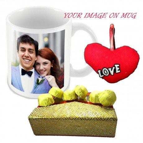 TECHNOCHITRA Exclusive Valentine Gift combo with Special Personalized Love Coffee Mug, Pack of Chocolates and One Free Small Cute Heart Shaped Hanging Cushion