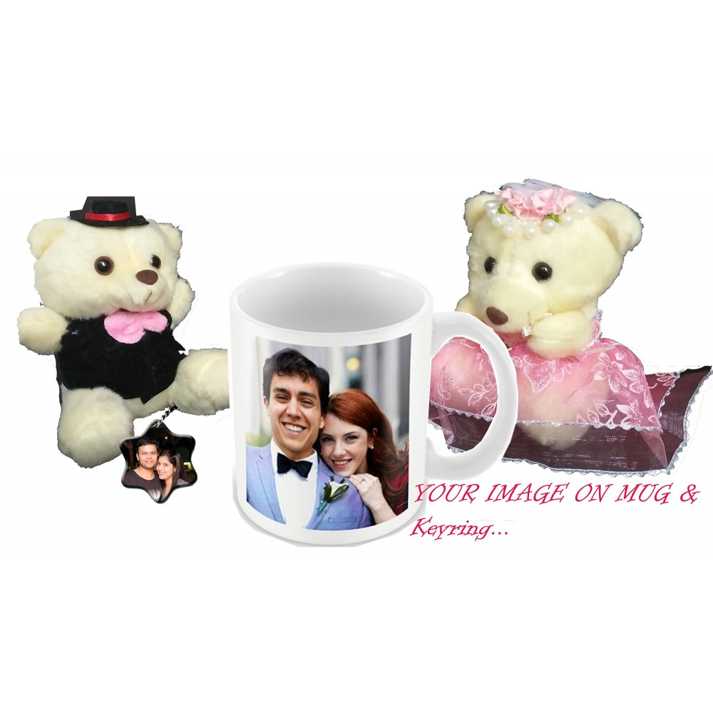 TECHNOCHITRA Exclusive Valentine Gift combo with Personalized Love Coffee Mug, Cute Couple Teddy and Personalized Key Ring